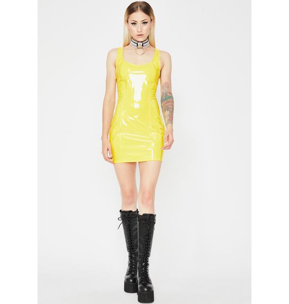 Lemon Acid Mayhem Vinyl Dress