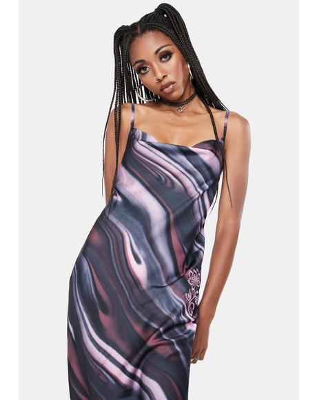 Satin Ombre Maxi Cowl Dress