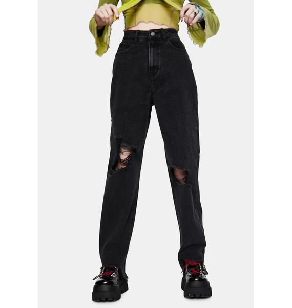 Momokrom Tall Washed Black Extreme Distressed Jeans