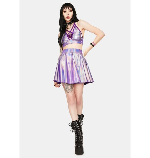 Rolita Rave Couture Blackout Holographic Skater Skirt With Pockets