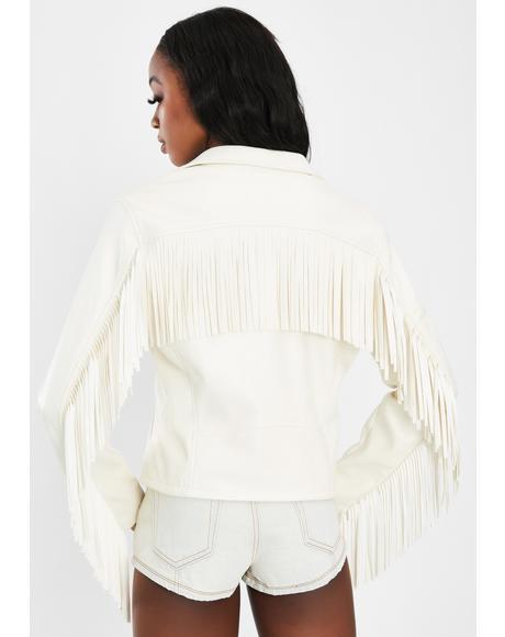 White Fringe Moto Jacket