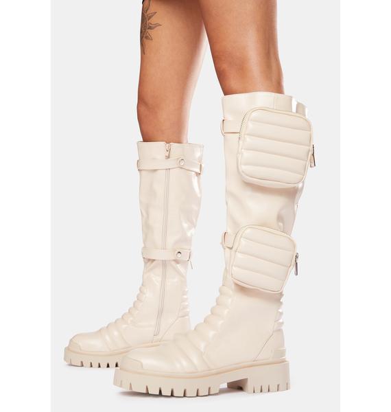 Public Desire Bone Tayla Knee High Boots