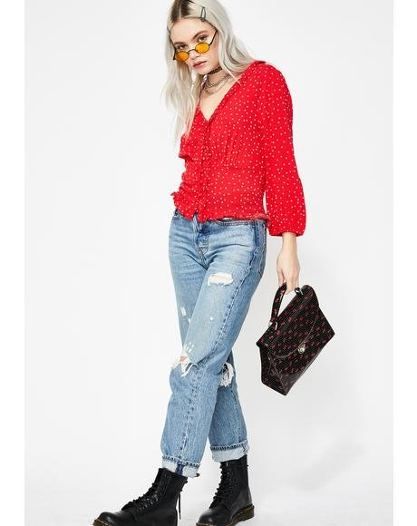 Ladylike Behavior Polka Dot Top