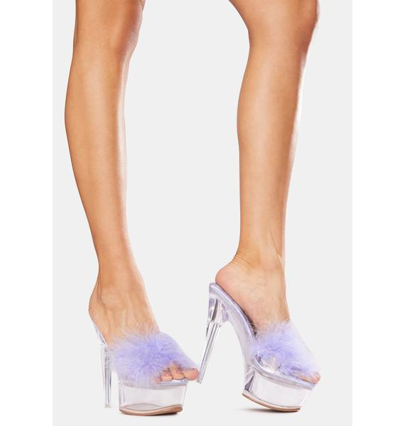 Public Desire Lilac Behavior Feather Clear Platform Heels