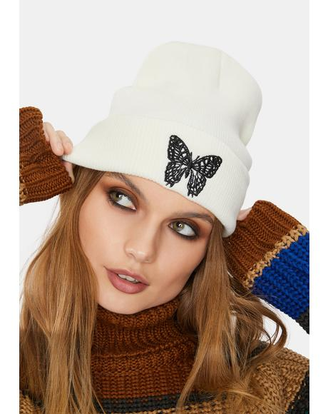 Ivory Wild Wings Embroidered Beanie