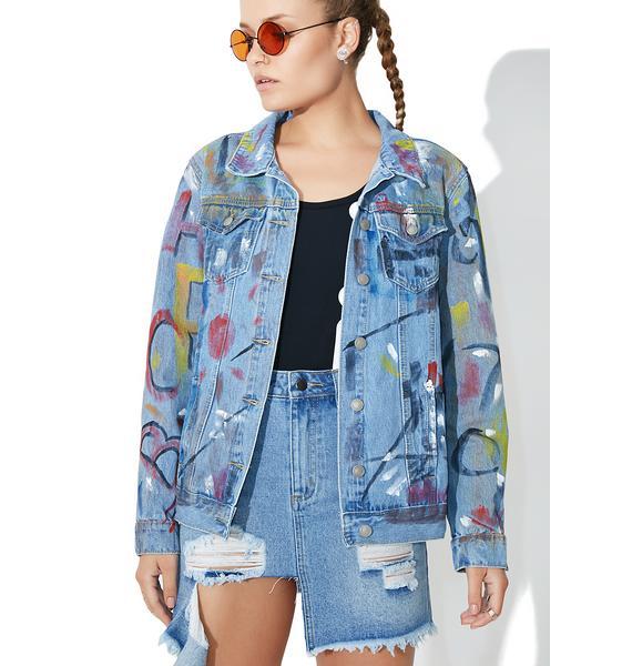 Glamorous Expressionist Denim Jacket