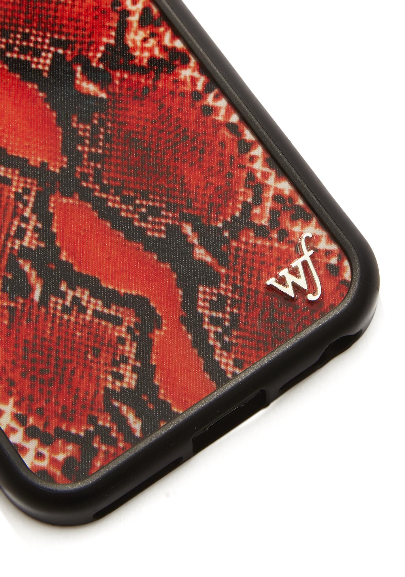 Wildflower Red Snake Skin IPhone Case