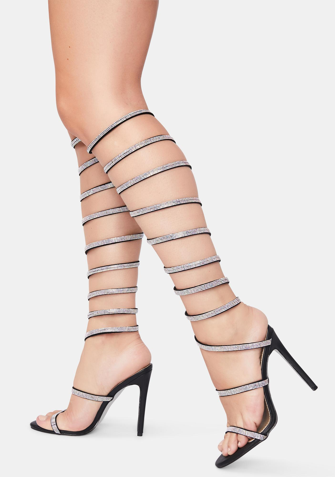 Glitter Party Rhinestone Wrap Heels