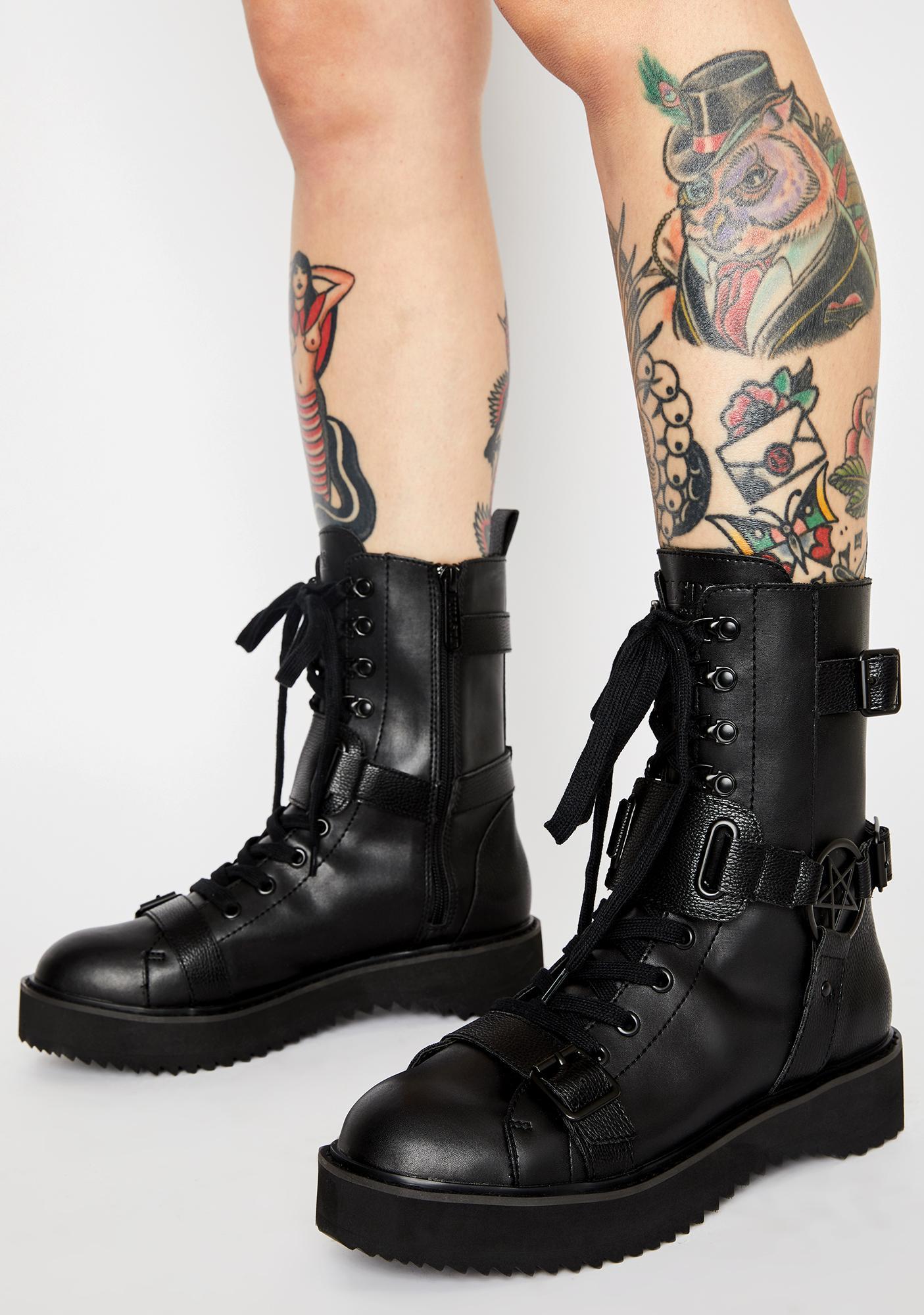 Killstar Eris Pentagram Combat Boots