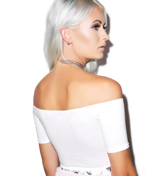 Motel Dana Off The Shoulder Crop Top