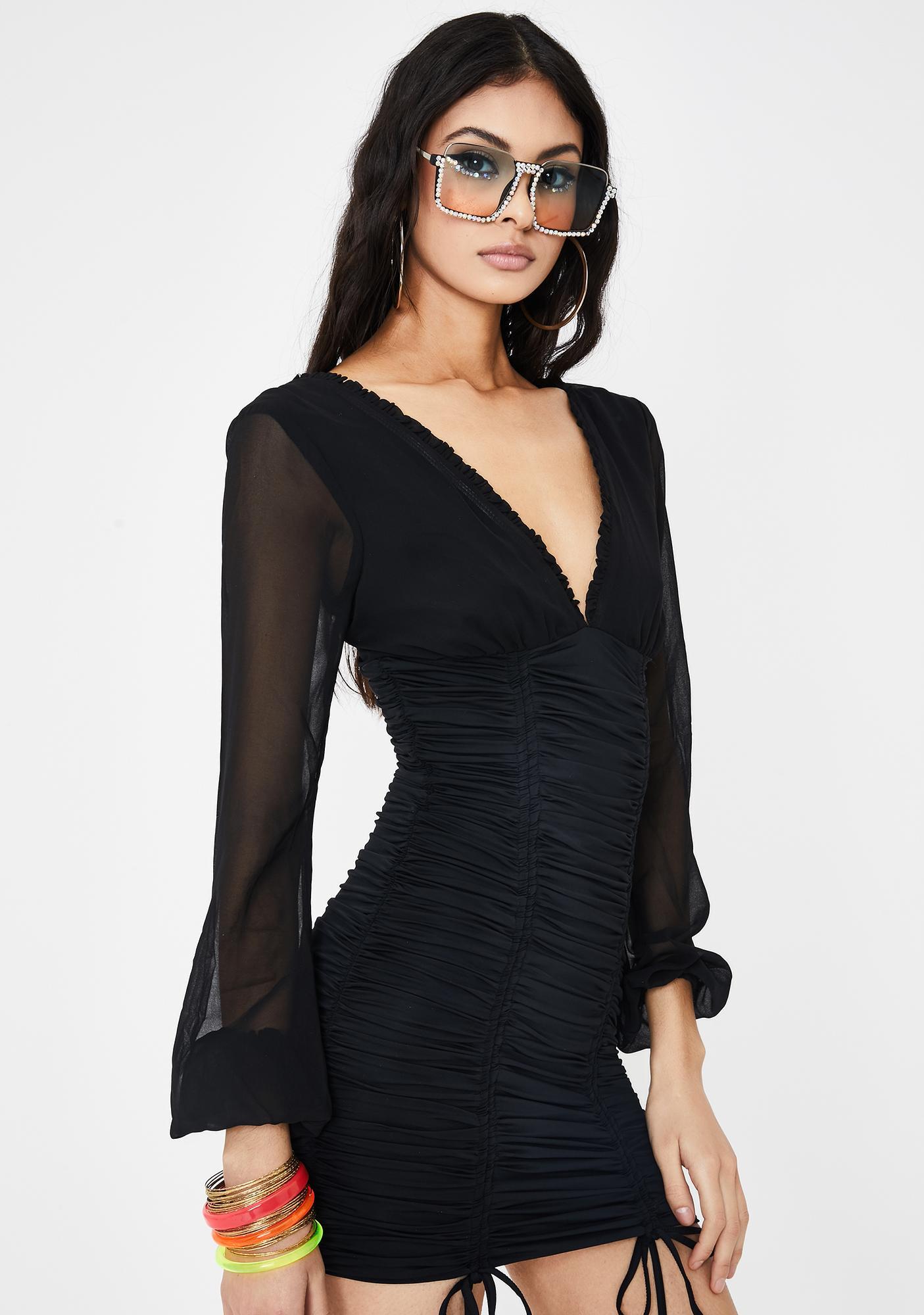 Tiger Mist Black Magnolia Mini Dress