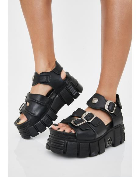 Black Blossoms Buckle Sandals