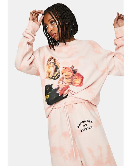 Kitten Peach Tie Dye Sweatshirt