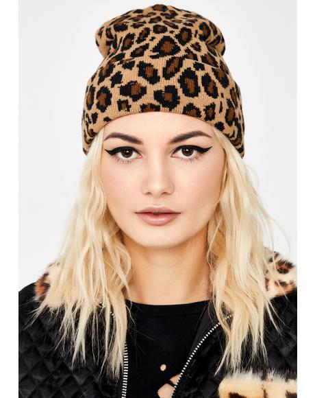Catty Curfew Leopard Beanie