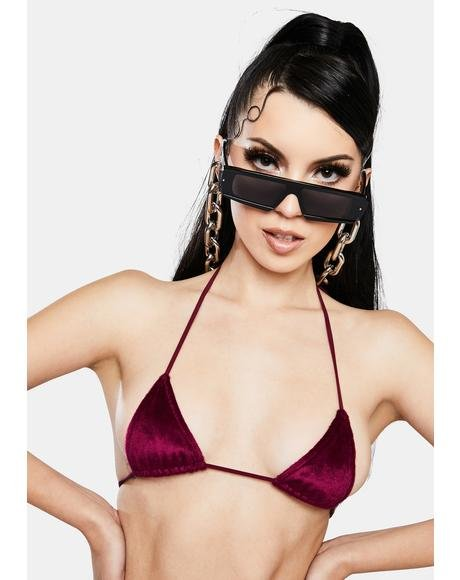Wine Beatrix Velour Bra Top