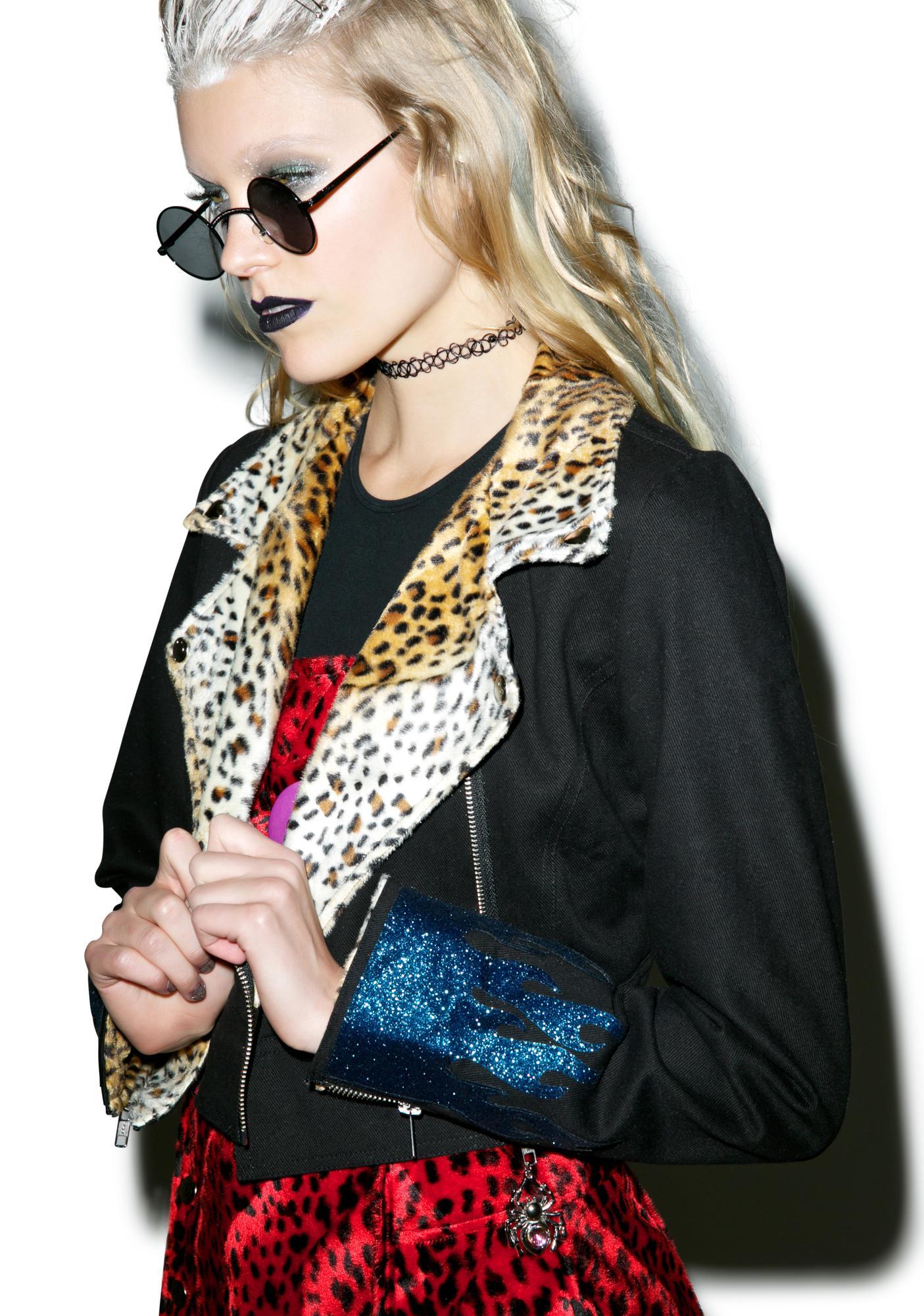 Indyanna Janis Cropped Leopard Denim Biker Jacket
