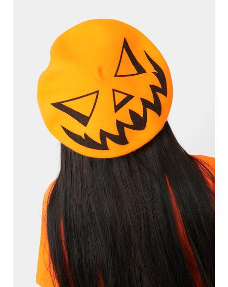 Trick Or Treat Pumpkin Orange Beret