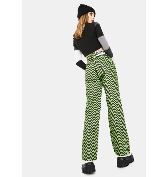 The Ragged Priest Lime Wave Print Dad Jeans