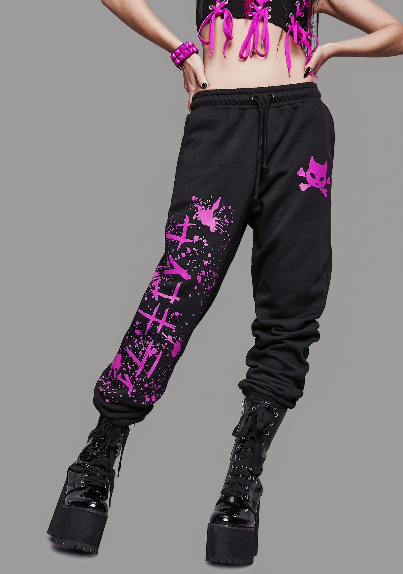 Widow Psycho Kitty Graphic Sweatpants