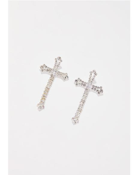 Glam Goddess Cross Earrings