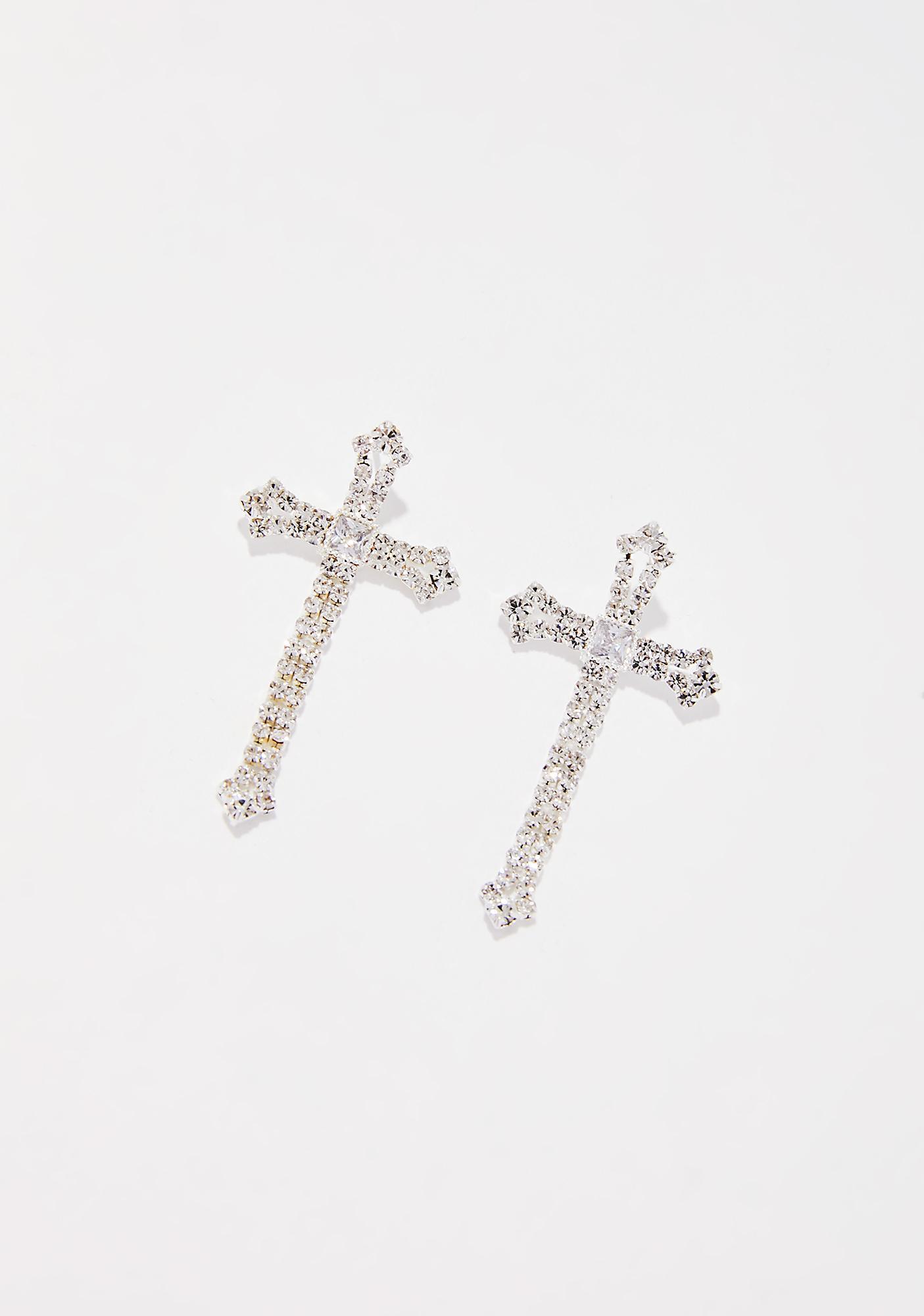 Glam Goddess Cross Earrings