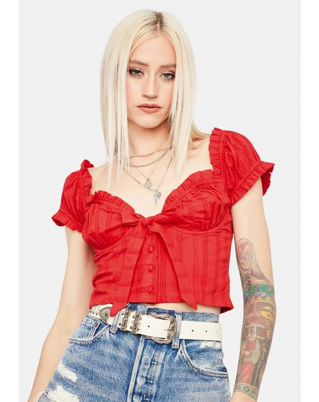 Lover Voulez Vous Bow Puff Sleeve Crop Top