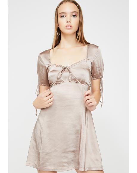 Taupe Guenette Satin Dress