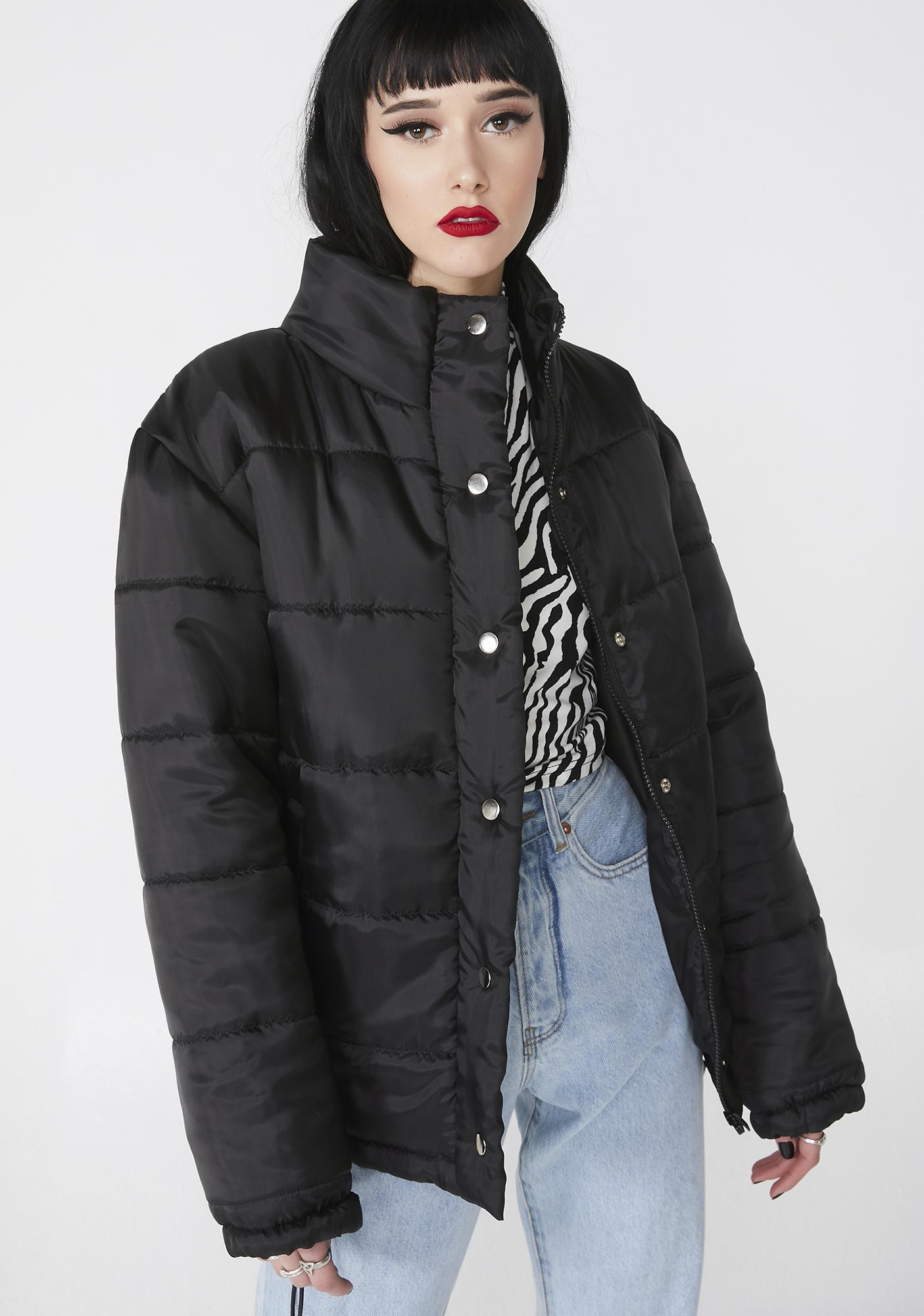 Daisy Street Solid Puffer Jacket