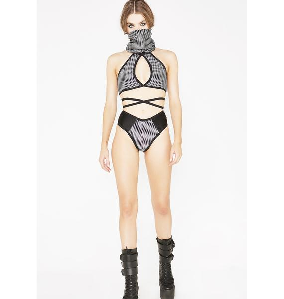 The Lyte Couture Hexx Reflective Keyhole Halter