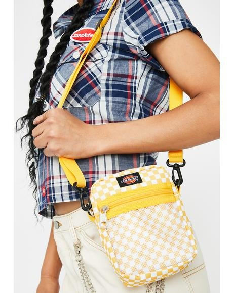 Yellow Checkered Crossbody Bag