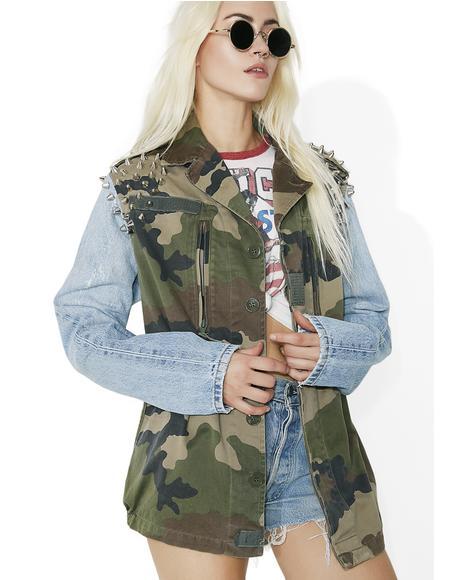 Vintage Military Stud Denim Jacket