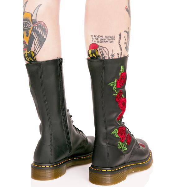 Dr. Martens Vonda Embroidered 14 Eye Boots