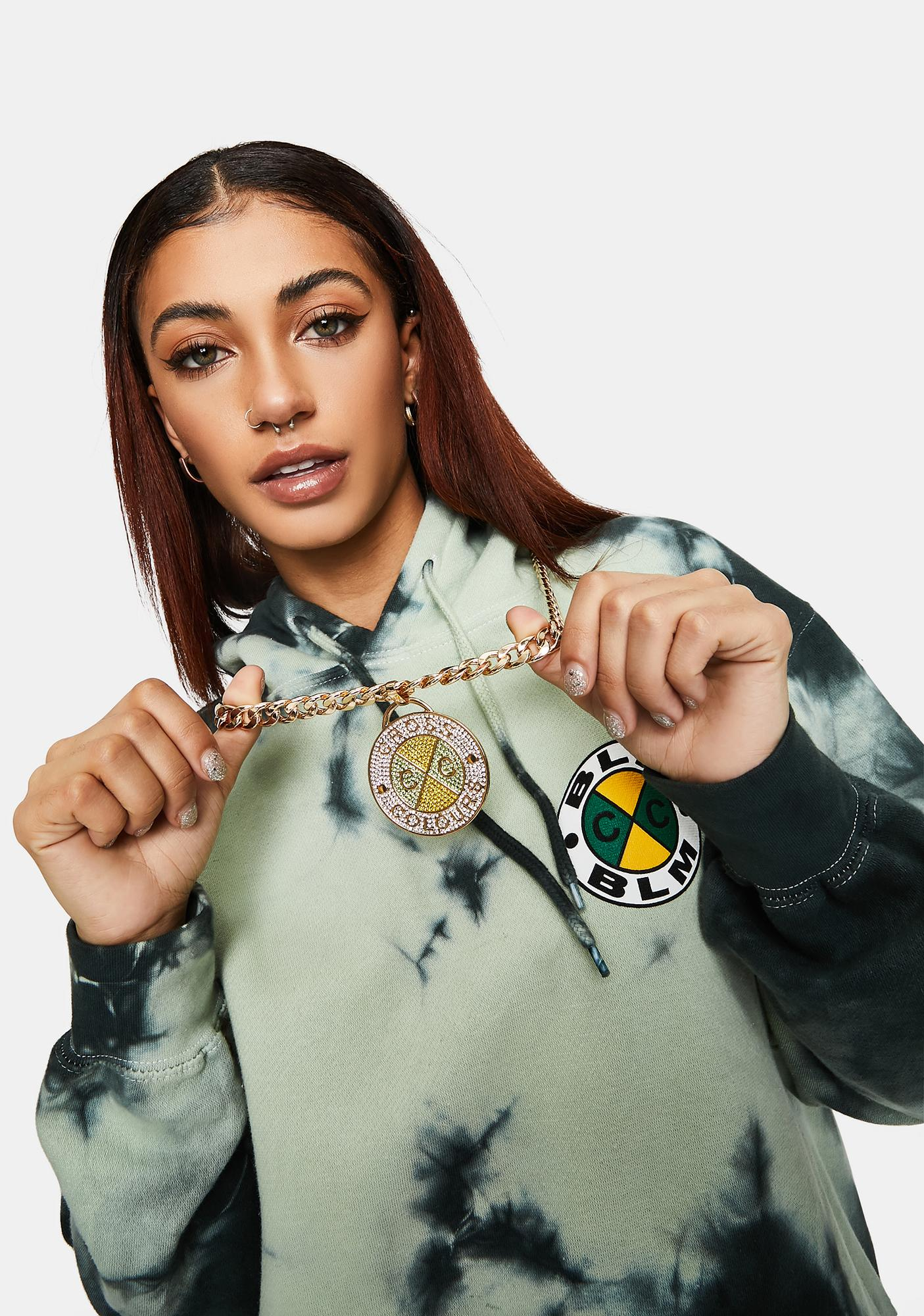 Cross Colours Crystal Circle Logo Medallion Miami Cuban Link Necklace