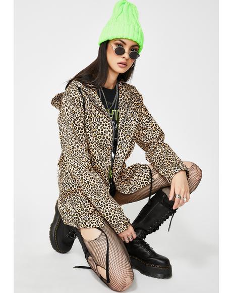 Leopard Skin Canvas Hoodie Jacket