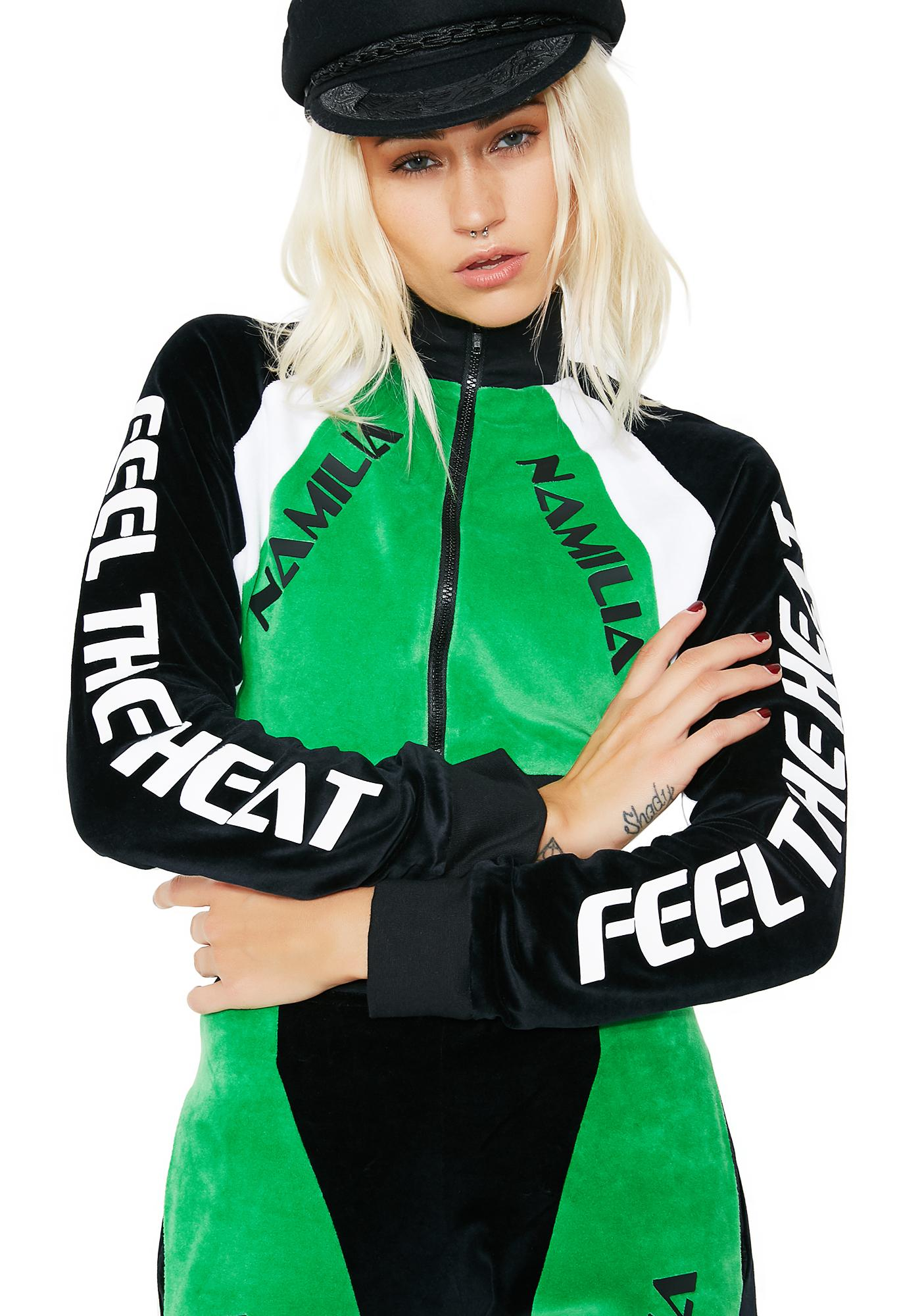 Namilia Velour Motocross Crop Jacket