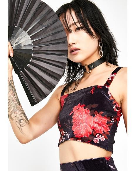 Fire Blossom Velvet Crop Top