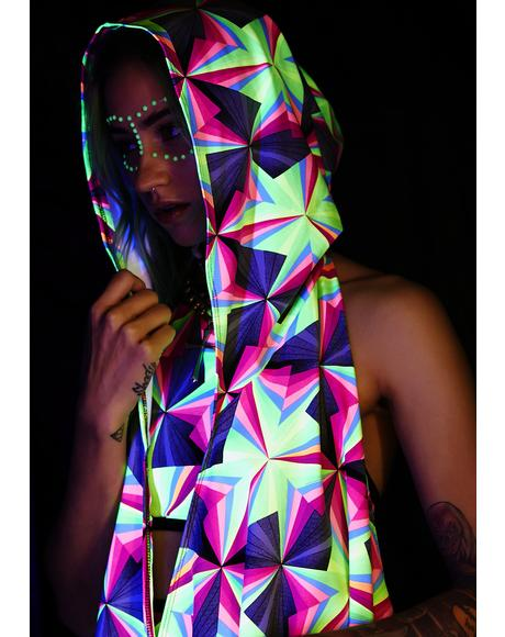 UV Neon Techno Party Hooded Cloak