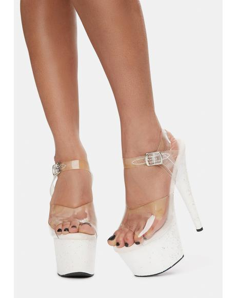 Pearl Time After Time Platform Glitter Heels