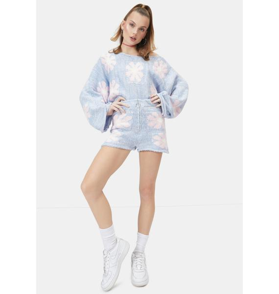 Cyan Playin' With You Floral Knit Sweater