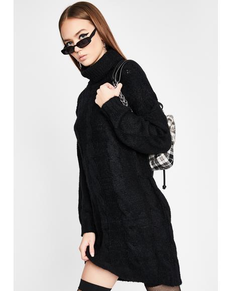 Noir Fall For It Sweater Dress