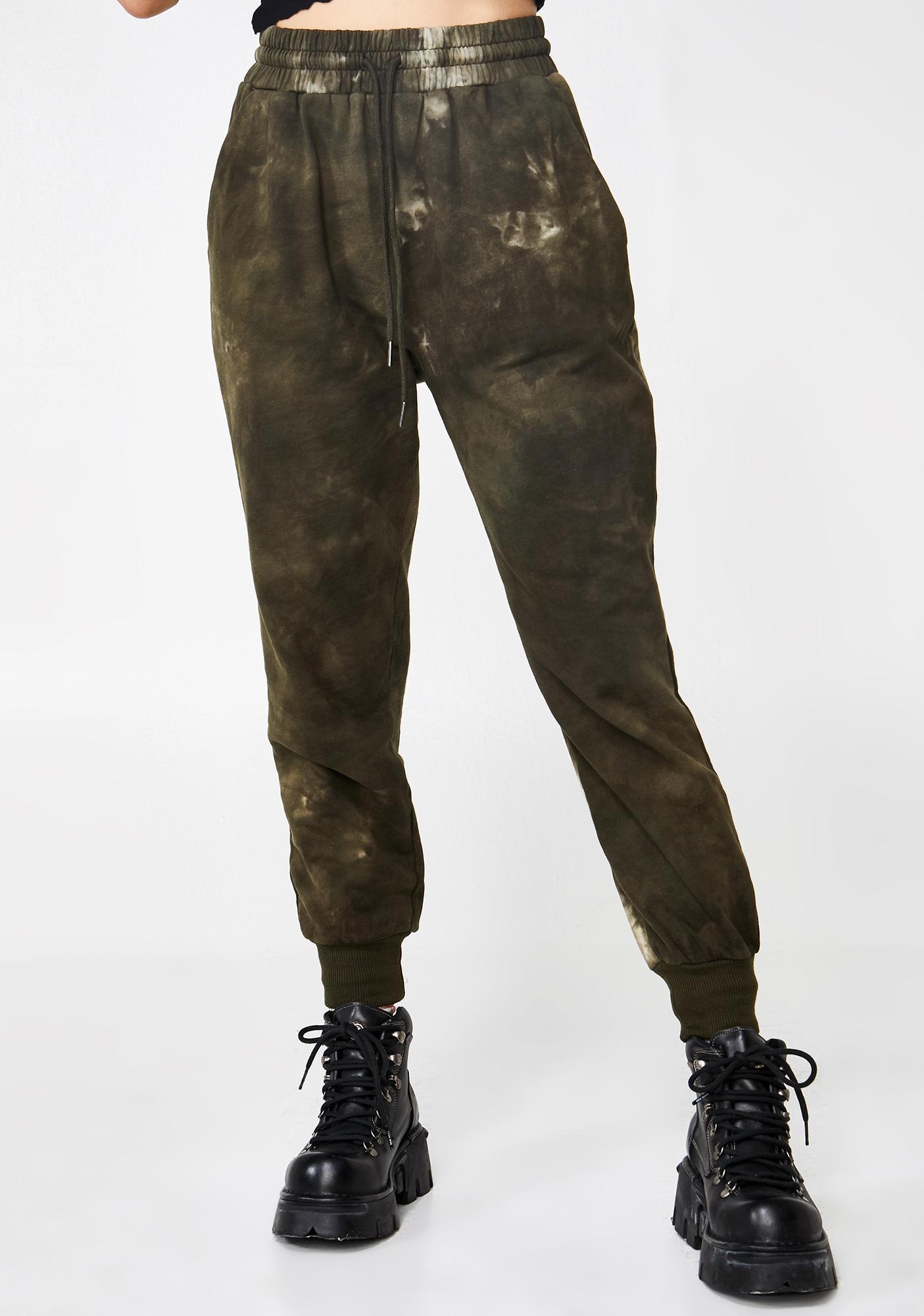 48b6502b Jogger Sweatpants Acid Wash High Waist Green | Dolls Kill