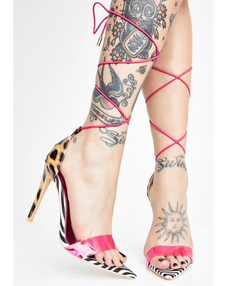Animal Instincts Lace-Up Heels