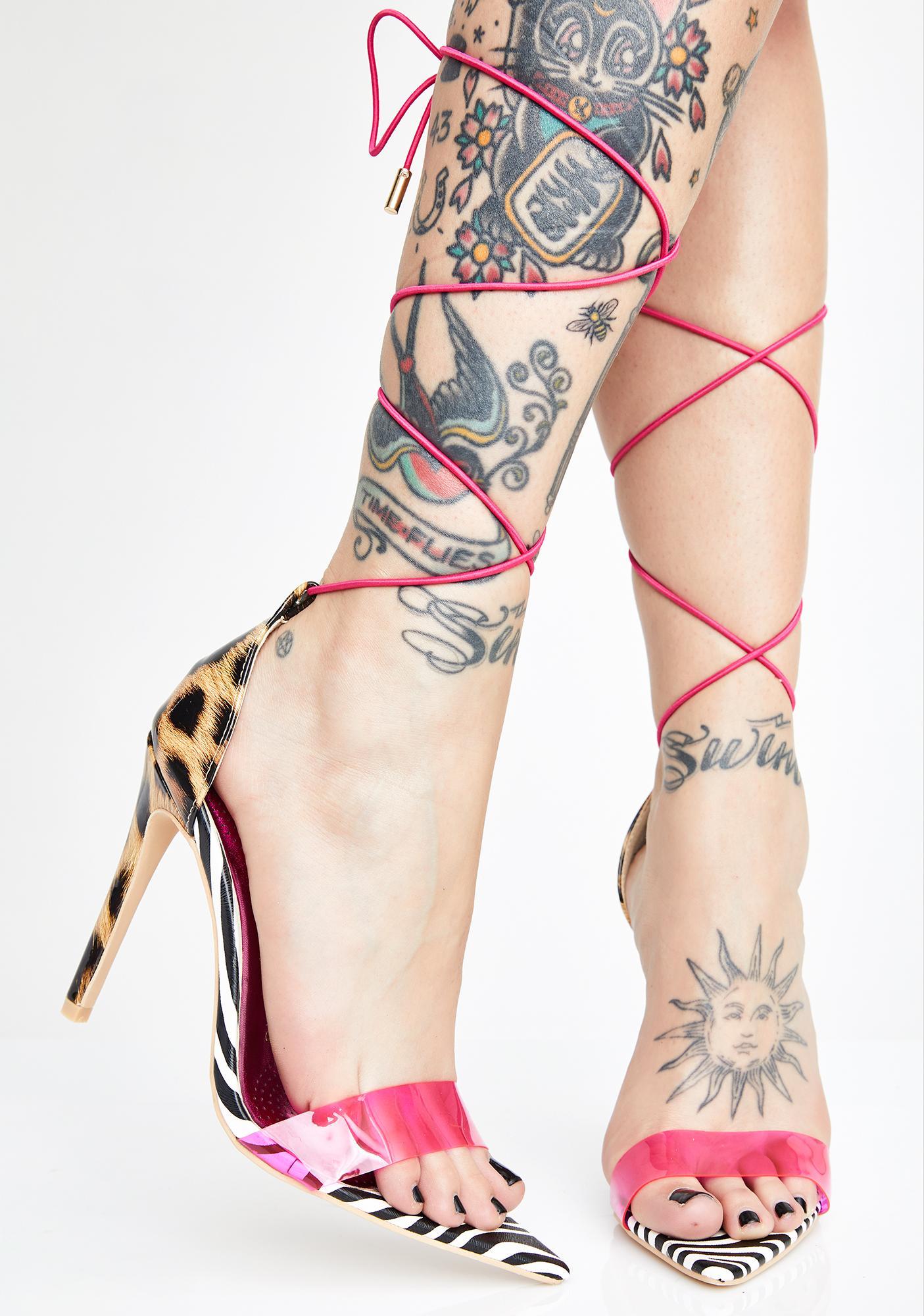AZALEA WANG Animal Instincts Lace-Up Heels