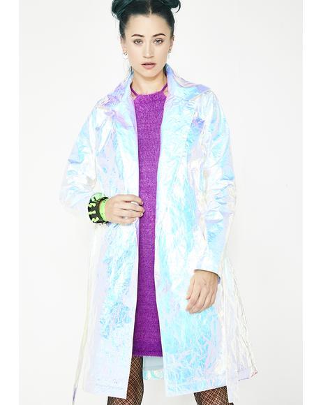 Celestial Odyssey Iridescent Trench Coat
