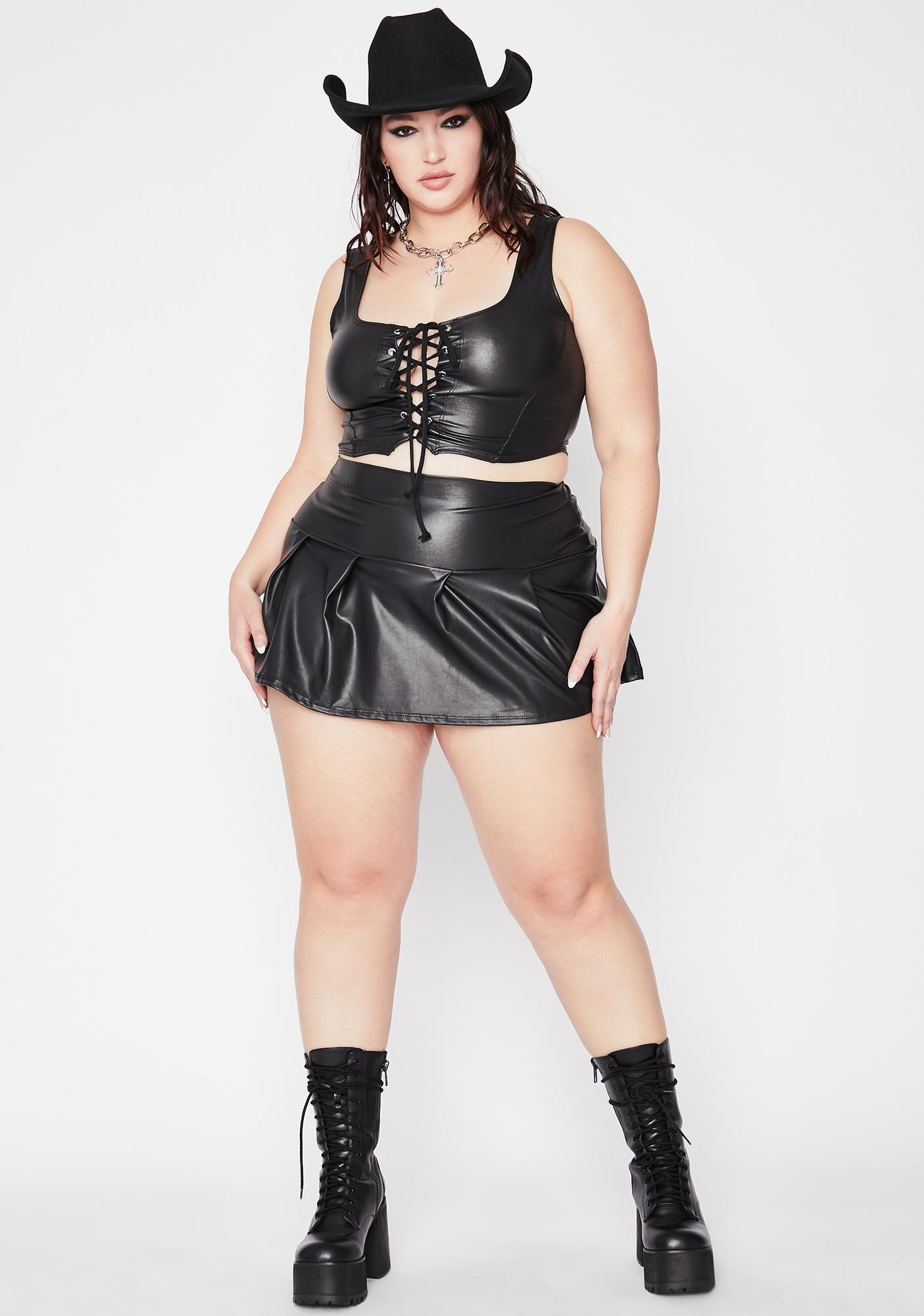 BB Black Hearted Faux Leather Set