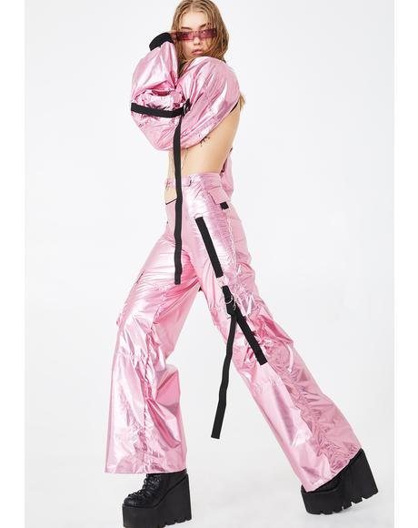 Metallic Pink Front Cut-Out Workwear Pants