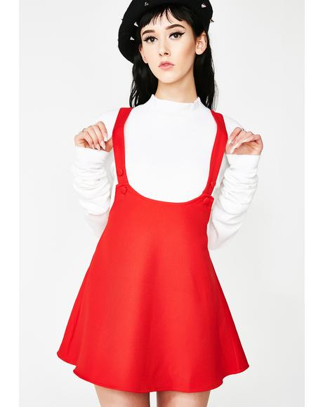 Lil Red Suspender Dress