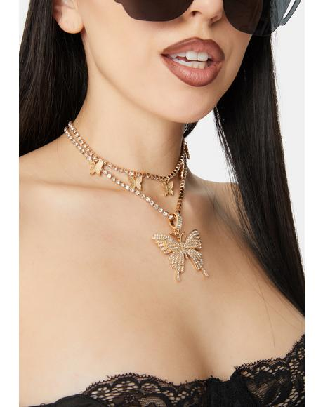 Butterfly Sparkle Rhinestone Necklace