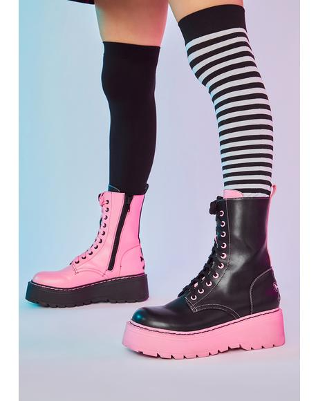 Criminally Cute Mismatch Combat Boots