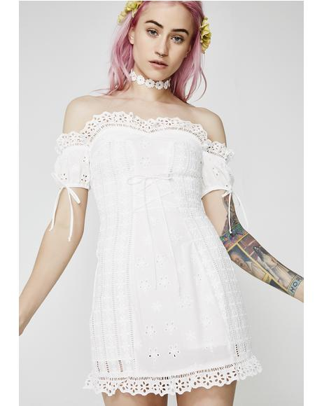 Anabelle Eyelet Laceup Dress